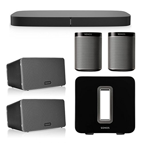 Sonos Multiroom Speaker System with PLAYBASE, PLAY:1, PLAY:3, and SUB Wireless Subwoofer (Black)