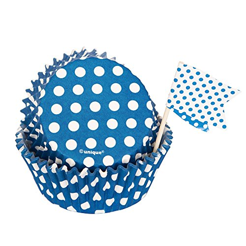 Royal Blue Polka Dot Cupcake