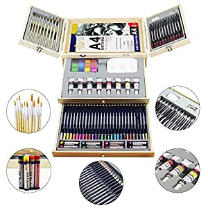 Deluxe Art Supplies, 83 Piece Art Set in Portable Wooden Case, with 2 Drawing Book and 4 Canvas Panels, Professional Art Set for Painting & Drawing, Art Kit for Kids, Teens and Adults/Gift
