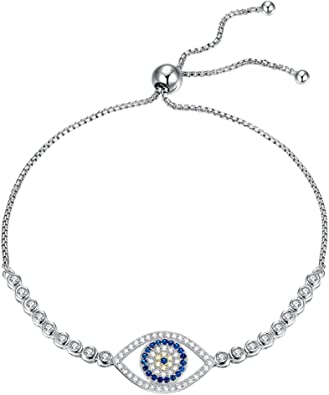 1 piece Rose gold oval blue evil eye bead zircon bracelet Chain .
