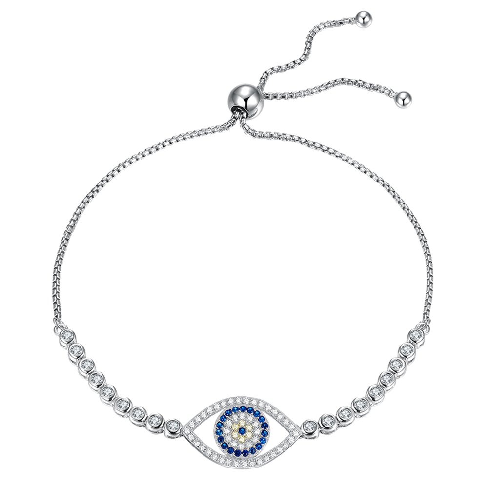 Kaletine Round Blue Evil Eye Bracelets Sterling Silver 925 Cubic Zirconia CZ Adjustable Tennis Anchor Chain 10 8RvqtVCy