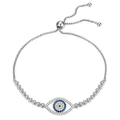Kaletine Blue Evil Eye Tennis Bracelet Sterling Silver 925 Cubic Zirconia CZ Adjustable Anchor Chain 10