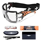 ToolFreak-Rip Out Safety Glasses ,Clear Wraparound Lenses ,Can Be Worn As Goggles for Work & Sport , Impact and UV Protection ,Rated to EN166FT ,Fog and Scratch Reduction ,Case and Cloth