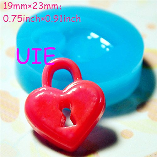 055LBQ Heart Key Lock Silicone Push Mold - Jewelry, Charms, Cupcake (Clay Fimo Casting Resins Epoxy Wax Soap Gum Paste Fondant)