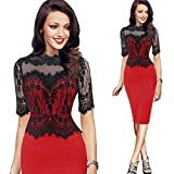 GoodLock Women Girls Fashion Dress Lady Female Vintage Lace Bodycon Pencil Evening Party Dress (Red, Asian Size:XL)