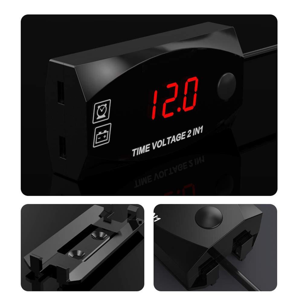 Leslaur Voltmetro 2 in 1 Multifunzione 6V-30V per Orologio da Moto per Veicoli elettrici con Display Digitale Timer Impermeabile
