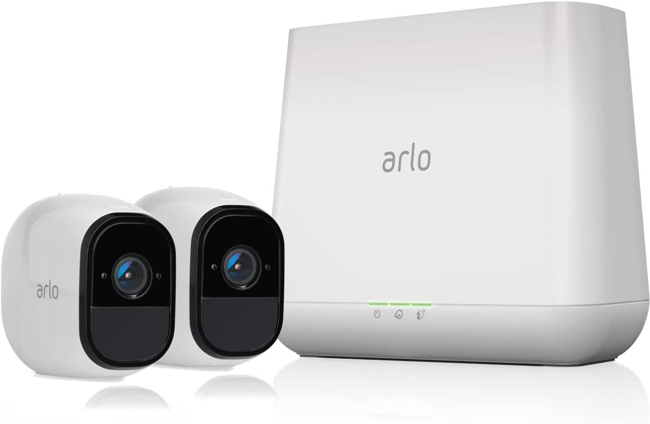 Arlo Pro by NETGEAR Security System with Siren – 2 Rechargeable Wire-Free HD Cameras with Audio | Indoor/Outdoor | Night Vision (VMS4230)