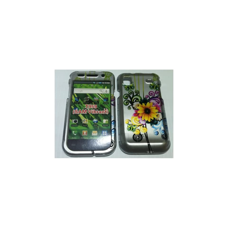 Samsung T959 I9000 Vibrant, Galaxy S Green, Yellow, flowers, Butterfly Beautiful Hard Plastic Snap/ Faceplate,