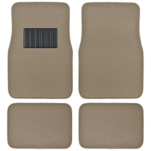 loor Mats for Car & Auto - Universal Fit -Front & Rear with  Heelpad (Medium Beige) (Classic Car Mats)
