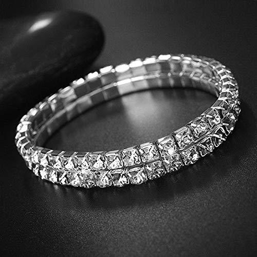 Hemau Silver Ankle Bracelet Stretchy 2 3 4 5 Rows Anklet Chain Diamante Rhinestones | Model BRCLT - 599 | 2 Row Rhinestone Anklet