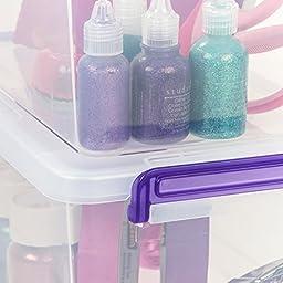 IRIS Medium Deep Modular Latching Box - Purple Handle, 6 Pack, Clear
