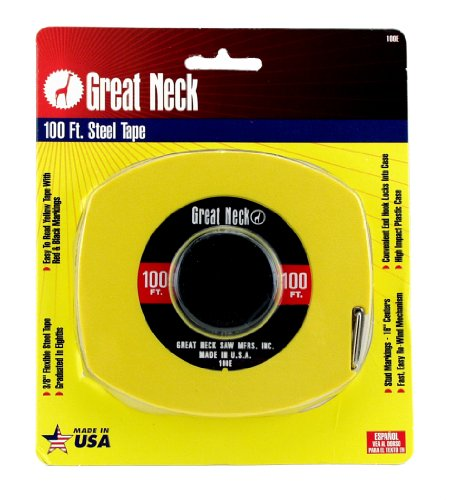GreatNeck 100E English Rule Measuring Tape, 3/8 Inch x 100 Feet from Great Neck