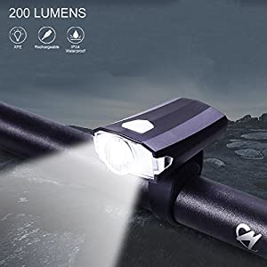 Alritz USB Rechargeable Bike Front Lights, Super Bright LED with 5 Lighting Mode, IPX4 Waterproof Bicycle Headlights for Kids, Men, Women Safe Cycling