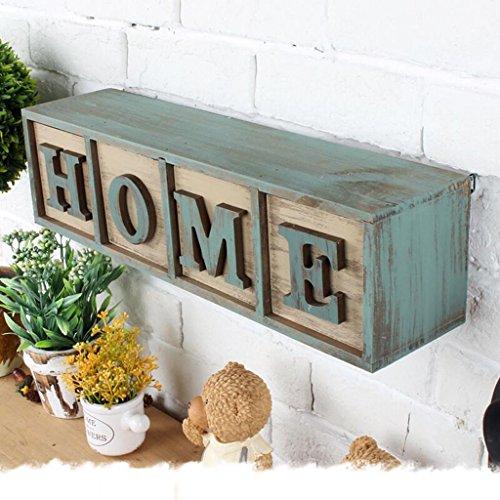 Estantería de pared de madera maciza estante de la decoración tablilla estante de tablilla de la pared armario retro, largo...