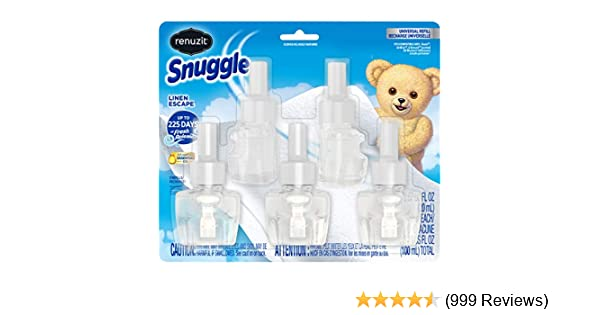 Renuzit Snuggle Scented Oil Refill for Plugin Air Fresheners, Linen Escape, 0.67 Fl Oz (Pack of 5)