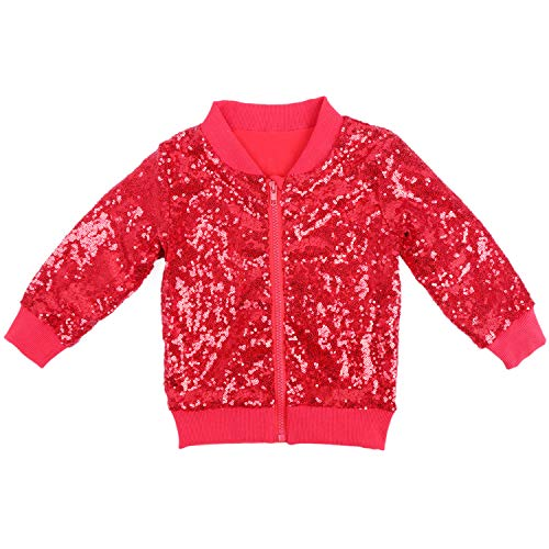 - Cilucu Kids Jackets Girls Boys Sequin Zipper Coat Jacket for Toddler Birthday Christmas Clothes Bomber Red 2-3T