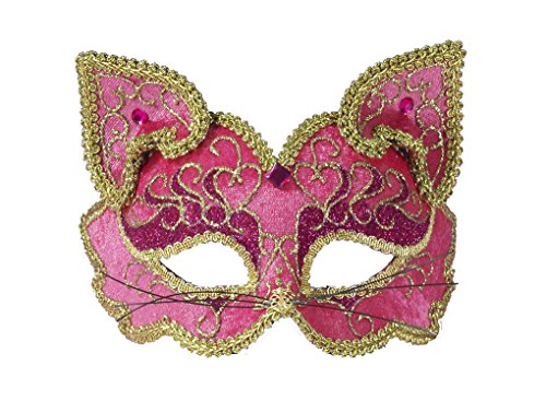 Pink Feline Fancy Mask (Adult size Pink Fancy Half Face Cat Mask on Headband - Masquerade)
