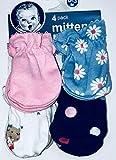 Gerber Newborn Baby Girl Assorted Mittens, 4-Pack