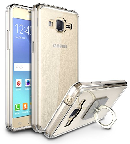 Galaxy Grand Prime Case, Galaxy J2 Prime Case, Style4U Scratch Resistant Shock Absorbent Slim Clear Back TPU Bumper Case for Samsung Galaxy Grand Prime (2016) with 1 Ring Holder Kickstand [Clear]