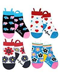 Kids Toddler Socks, Non Skid Grippers, Seamless Toe and Ez Pull Up Loops
