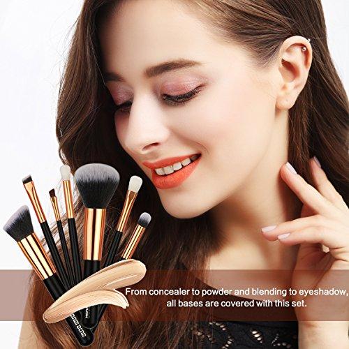 BABI BEAR Makeup Brushes Set 15 PCs Premium Synthetic Kabuki Foundation Brush Professional Wooden Handle Makeup Brush with Makeup Sponge Brush Cleaner and Waterproof Carrying Bag (15+3pcs,Rose Gold)