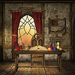 Laeacco 6x6ft Fantasy Room Interior Backdrop Vinyl Shabby Room Old Wooden Table Chair Magical Book Sand Clock Beside The Window Wood Floor Background Kids Child Baby Newborn Artistic Shoot