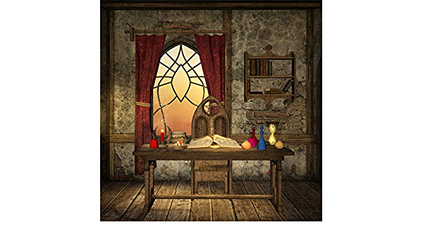 6x6ft Fantasy Room Interior Backdrop Polyester Shabby Room Old Wooden Table Chair Magical Book Sand Clock Beside The Window Wood Floor Background Kids Child Baby Newborn Artistic Shoot