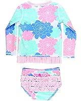 RuffleButts Little Girls Pastel Floral Long...