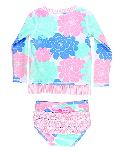 RuffleButts Little Girls Pastel Floral Long Sleeve UPF 50+ Rash Guard Bikini Swimsuit - 2T