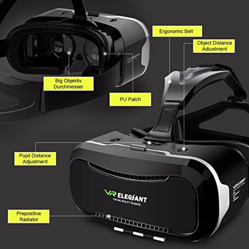 VR Headset,ELEGIANT 3D VR Glasses Virtual Reality Box for 3D Movies Video Games, for iPhone 7 Plus 6 Plus 6s Samsung S7 S6 Edge S5 Note 5 Other 4.0-6.0 Inches Smartphones Photo #5