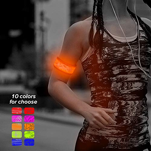 Higo LED Armband, Light Up Party Favor Wristband Glow in The Dark Slap Bracelets for Running, Cycling, Hiking, Jogging (Orange-Design Iv) for $<!--$7.97-->