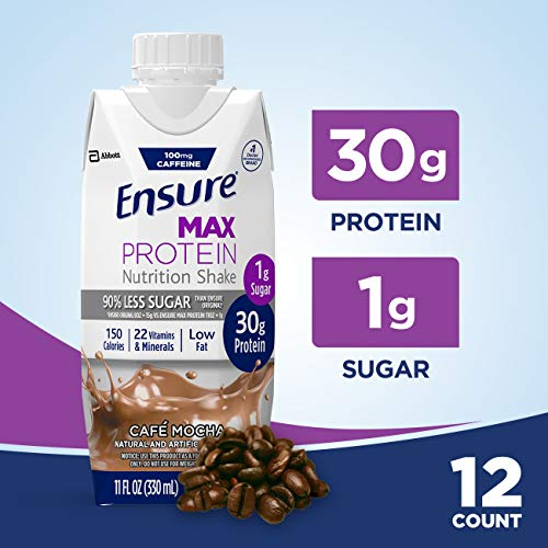 Ensure Max Protein Nutritional Shake with 30g of High-Quality Protein, 1g of Sugar, High Protein Shake, Café Mocha, 11 fl oz, 12 -