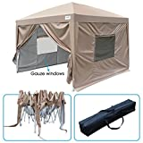 Quictent 2018 Upgraded Privacy 10x10 EZ Pop Up Canopy Party Tent Folding Gazebo with Mesh Windows and Sidewalls 100% Waterproof (Beige)