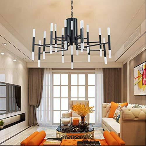 Vhouse Modern Metal 24 Black Chandelier LED Black Finish Acrylic Chandelier Living Room Bedroom Dining Room Lighting Decorative Chandelier (24 LED)