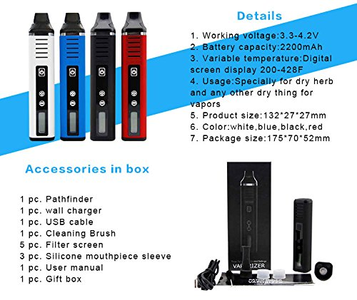 Pathfinder V2 Dry Herb Vaporizer, 2200mAh Battery, Large 1g Chamber, LCD  Screen, Variable Temperature Control (Blue)
