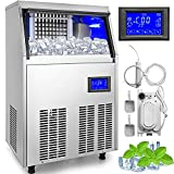 VEVOR Commercial Ice Maker 155LBS in 24H with Water Drain Pump 33LBS Storage Stainless Steel 5x9 Cubes LCD Panel Auto Clean for Bar Home Supermarket, Includes 2 Scoops and Connection Hoses