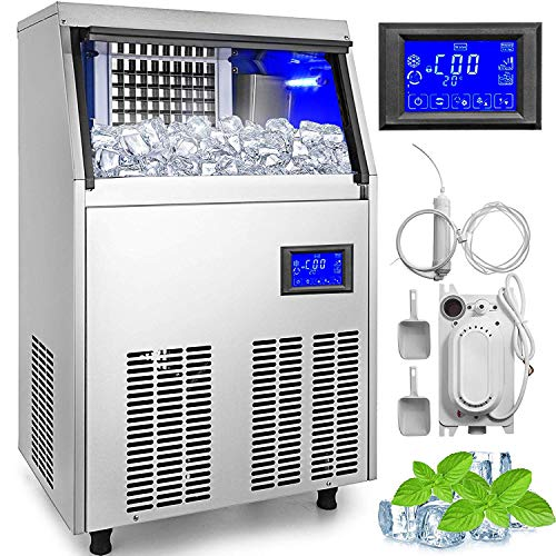 VEVOR 110V Commercial Ice Maker 110 LBS in 24 Hrs with Water Drain Pump 33LBS Storage Stainless Steel Commercial Ice Machine 4x9 Ice Tray LCD Control Auto Clean for Bar Home Supermarkets