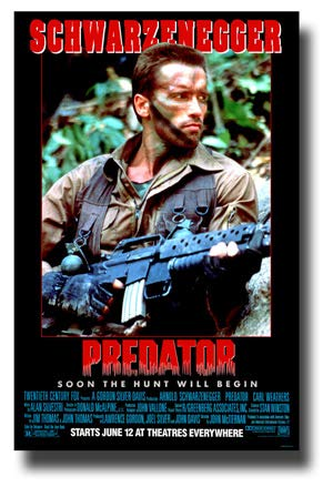 Predator Poster Movie Promo 11 x 17 inches 1980s Arnold Schwarzenegger Soon  The Hunt Will Begin