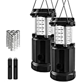 Etekcity 2 Pack Portable LED Camping Lantern Flashlights with 6 AA Batteries - Survival Kit for Emergency, Hurricane, Outage (Black, Collapsible) (CL30)