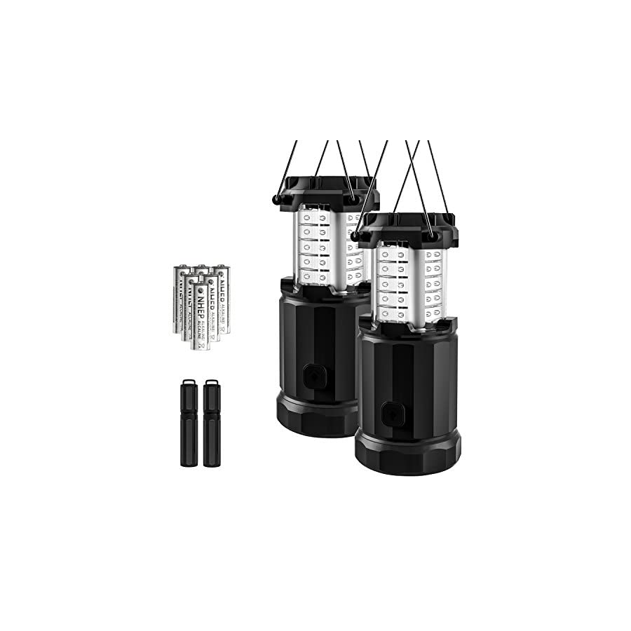 Etekcity 2 Pack Portable LED Camping Lantern Flashlights with 6 AA Batteries, Upgraded Magnetic Base and Dimmer Button Survival Kit for Emergency, Hurricane, Outage (Black, Collapsible)
