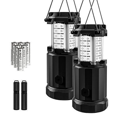 Etekcity 2 Pack Portable LED Camping Lantern Flashlights with 6 AA Batteries - Survival Kit for Emergency, Hurricane, Outage (Black, Collapsible) (upgraded dimmer button) (Bright Flashlight Blue Led 6)