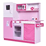 42.5'' Pink Kids MDF Wood Kitchen Cooking Play Set Bottom Storage Space w/ Oven Microwave Refrigerator Sink And Stove
