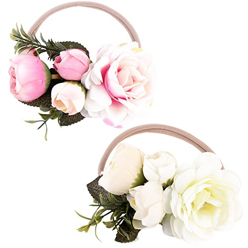 BQUBO Baby Flower Crown Rubber Headbands Hand Sewing Beads Flower Hair Bands, 2 Pack -