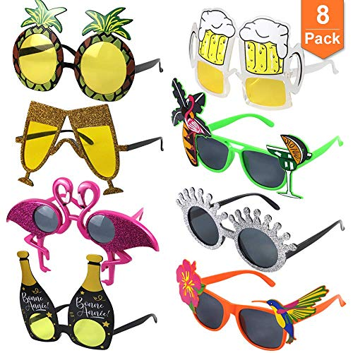 POKONBOY Luau Party Sunglasses, 8 Pack Funny Hawaiian Glasses Tropical Fancy Dress Favors Fun Summer Party Photo Booth Props Novelty Party Supplies Decoration for Kids and Adults -