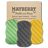 Konjac Sponge with Bamboo Charcoal, Green Tea, and Turmeric (3 Pack) 100% Natural Charcoal, Green Tea, and Turmeric Body Sponges