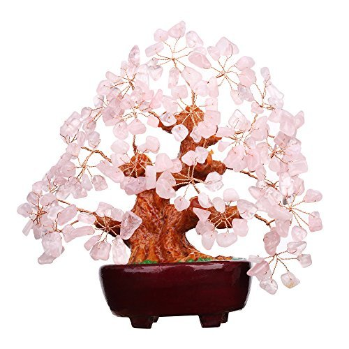 7 Inch Pink Crystal Money Tree Feng Shui Natural Rose Quartz Gem Stone Money Tree for Office Home table (Quartz Gemstone Tree)