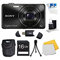 Sony DSC-WX220/B DSCWX220 WX220 WX220B DSC-WX220 Black Digital Camera Bundle - Includes Camera, 16GB SDHC/SDXC Memory Card, Carrying Case, SD USB 2.0 Card Reader, Flexible Mini Table-top Tripod, 3 Pc. LCD Screen Protectors and More