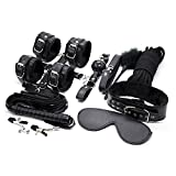 The Costume Accessory Set Includes: (1) Storage Bag (2) Fur Lined Bracelets(2) Fur Lined Anklets(1) Fur Lined Leather Necklace(1) Vegan Leather leash(1) Adjustable Ball Harness(2) Adjustable Tension Clamps(1) Cosplay Crop (1) Soft Blindfold(1) Soft R...