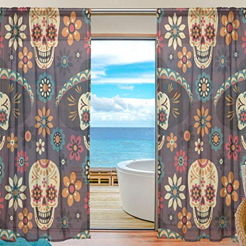 (XiangHeFu Sheer Curtain Tulle Day of Dead Sugar Skulls and Flowers Voile Window Curtains for Bedroom,55(W) x84(L) Inch,2 Panels)