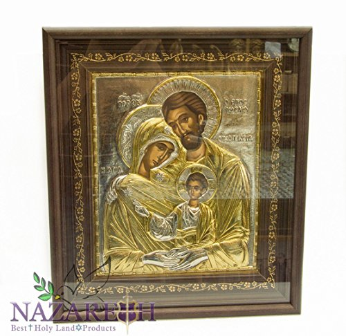 Amazing High Quality Silver 15'' Icon Of Holy Family of Jesus With 24ct Gold Jerusalem Holy Land by Holy Land Gifts